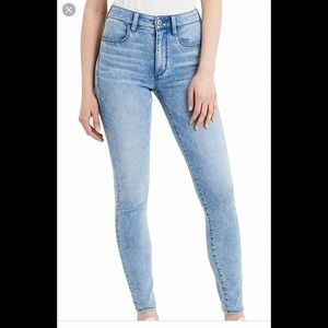 Super high rise light wash jegging